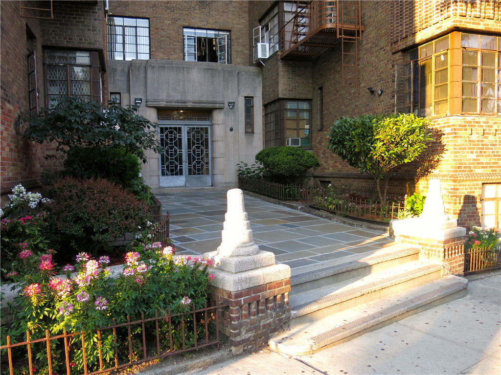 View of entrance to an apartment building located on 225 St